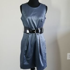 BCX Gorgeous Belted Silky Blue Grey Dress